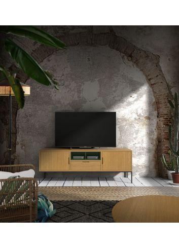 mueble tv roble patas hierro