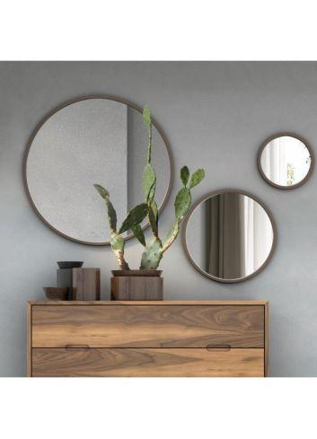conjunto de 3 espejos redondos en madera