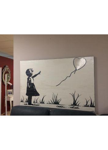 cuadro niña con globo